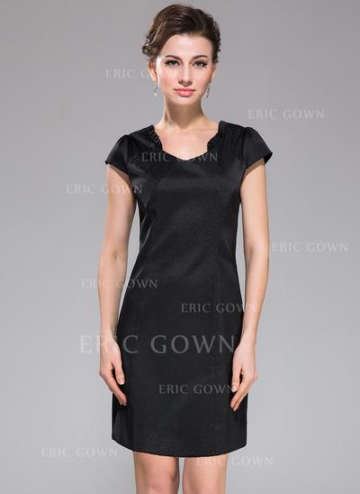 Sheath/Column V-neck Short/Mini Satin Cocktail Dress With Ruffle (008042457)