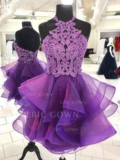 A-Line/Princess Halter Short/Mini Homecoming Dresses With Appliques Cascading Ruffles (022219309)