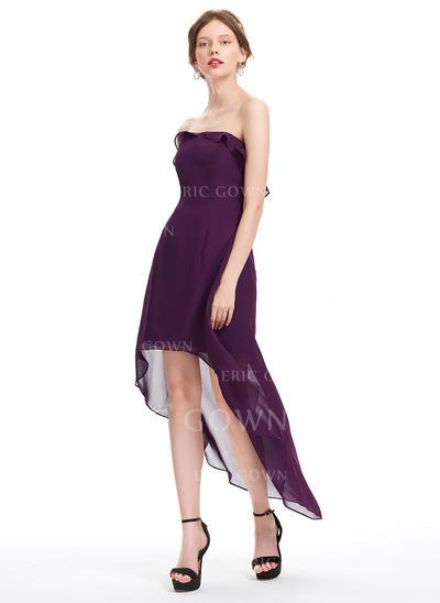 A-Line/Princess Strapless Asymmetrical Chiffon Homecoming Dresses With Cascading Ruffles (022214169)