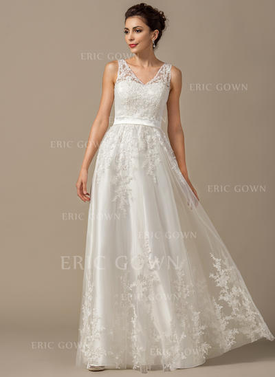 A-Line/Princess Sweetheart Floor-Length Wedding Dresses With Appliques Lace (002211526)