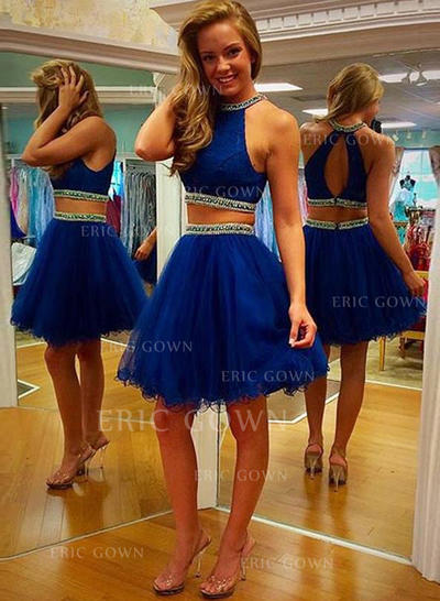 A-Line/Princess Scoop Neck Detachable Homecoming Dresses With Sequins (022212285)