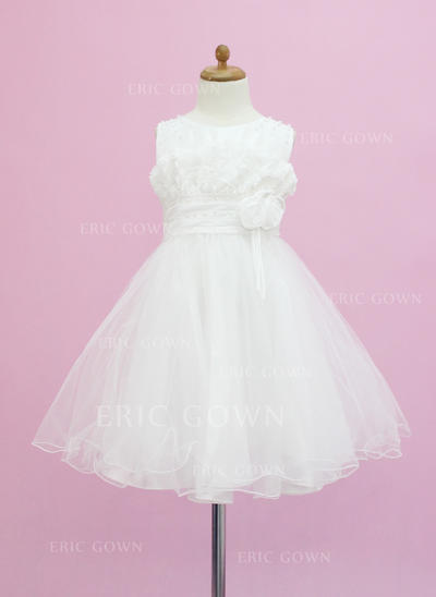 Gorgeous Scoop Neck A-Line/Princess Flower Girl Dresses Tea-length Tulle Sleeveless (010005337)