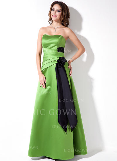A-Line/Princess Sweetheart Floor-Length Bridesmaid Dresses With Ruffle Sash (007000882)