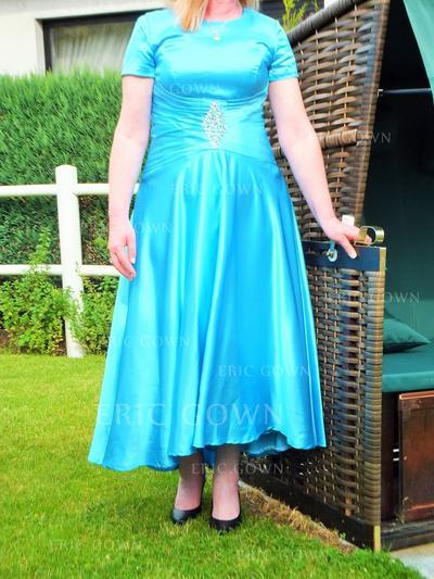 A-Line/Princess Taffeta Short Sleeves Scoop Neck Ankle-Length Zipper Up Mother of the Bride Dresses (008212784)