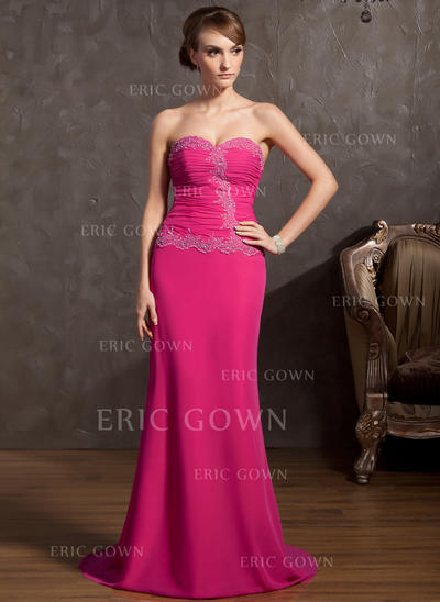 A-Line/Princess Sweetheart Sweep Train Evening Dresses With Ruffle Beading Appliques Lace (017014848)
