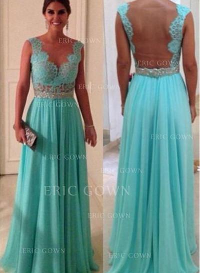 A-Line/Princess Floor-Length Prom Dresses Scoop Neck Chiffon Sleeveless (018146467)