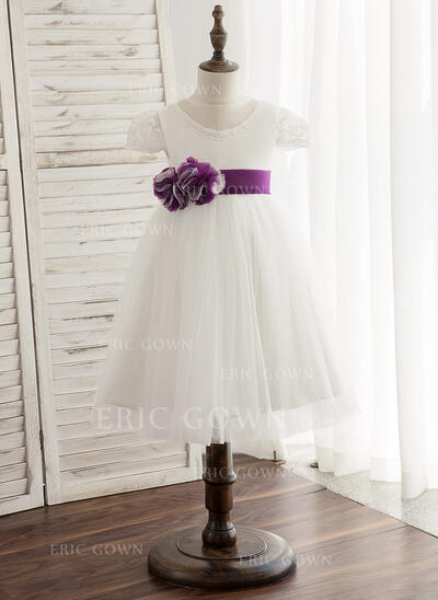 A-Line/Princess Knee-length Flower Girl Dress - Tulle/Lace Short Sleeves Scoop Neck With Sash (Detachable sash) (010148832)