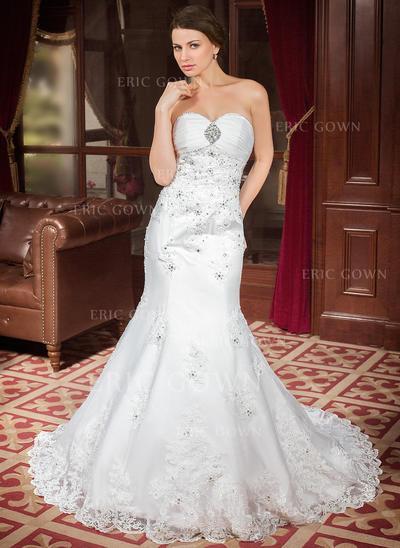 Trumpet/Sjöjungfru Älsklingsringning Chapel släp Bröllopsklänningar med Rufsar Spets Beading Paljetter (002000302)