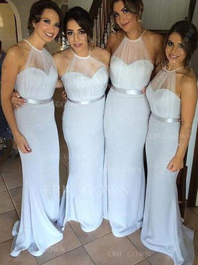 Trumpet/Mermaid Tulle Jersey Bridesmaid Dresses Ruffle Scoop Neck Sleeveless Sweep Train (007144993)