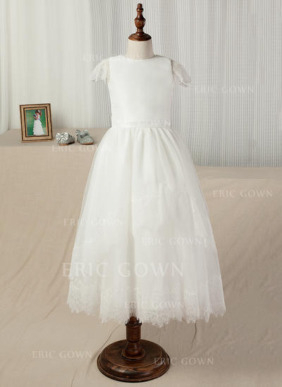 A-Line/Princess Ankle-length Flower Girl Dress - Taffeta/Lace Short Sleeves Scoop Neck With Sash (010130860)