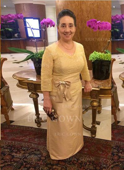 A-Line/Princess Taffeta 3/4 Sleeves V-neck Ankle-Length Zipper Up Mother of the Bride Dresses (008212751)