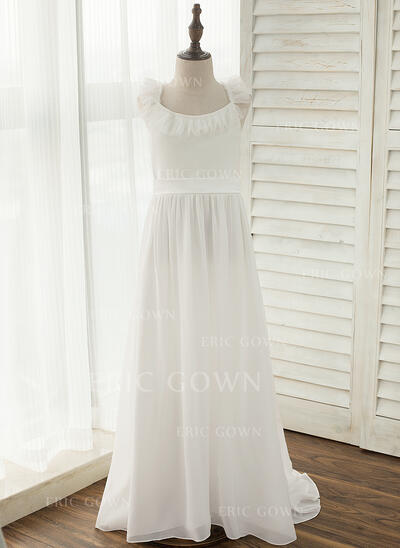 A-Line/Princess Court Train Flower Girl Dress - Chiffon Sleeveless Straps With Bow(s) (010141215)