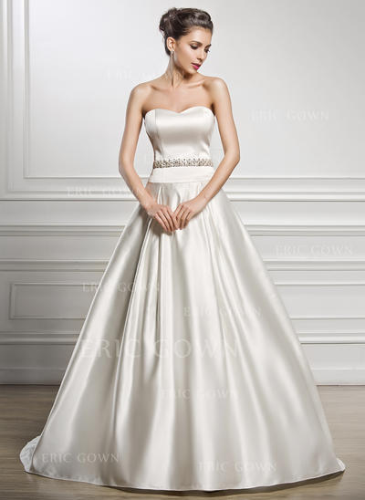 A-Line/Princess Sweetheart Court Train Wedding Dresses With Beading Sequins (002056216)