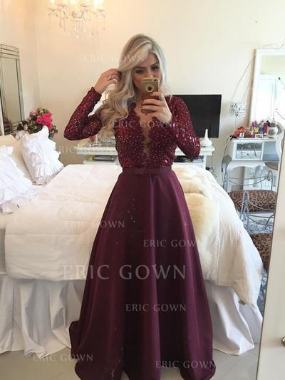 A-Line/Princess V-neck Floor-Length Satin Prom Dresses (018217250)
