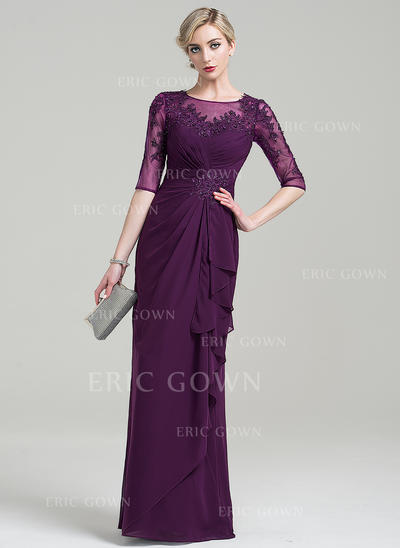 Sheath/Column Scoop Neck Floor-Length Chiffon Mother of the Bride Dress With Beading Appliques Lace Sequins Cascading Ruffles (008085286)