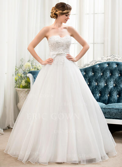 Ball-Gown Sweetheart Floor-Length Organza Lace Wedding Dress With Beading Sequins Bow(s) (002054360)