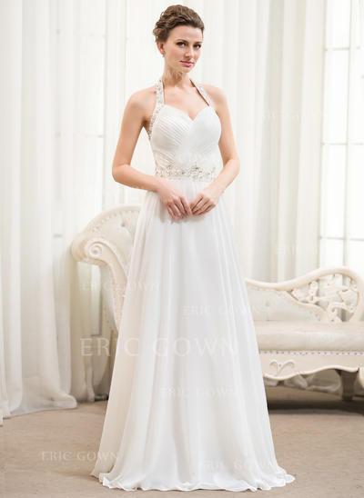 Halter A-Line/Princess Wedding Dresses Chiffon Ruffle Beading Sequins Sleeveless Floor-Length (002054367)