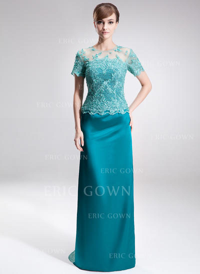 Sheath/Column Charmeuse Lace Short Sleeves Scoop Neck Sweep Train Zipper Up Mother of the Bride Dresses (008005926)