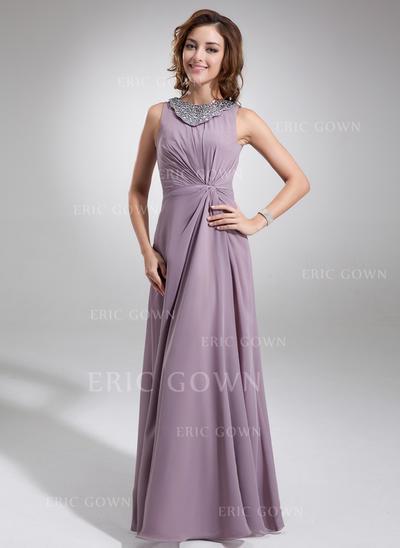 A-Line/Princess Chiffon Sleeveless Scoop Neck Floor-Length Zipper Up Mother of the Bride Dresses (008006217)