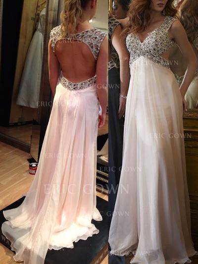 A-Line/Princess V-neck Sweep Train Prom Dresses With Beading (018212221)