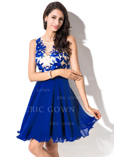 A-Line/Princess Scoop Neck Short/Mini Chiffon Homecoming Dresses With Lace (022214019)