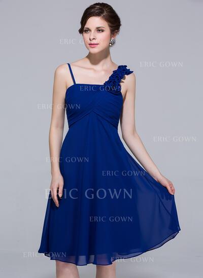 Empire Knee-Length Chiffon Bridesmaid Dress With Ruffle Flower(s) (007037246)