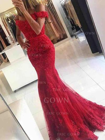 Trumpet/Mermaid Off-the-Shoulder Sweep Train Tulle Evening Dresses With Appliques Lace (017217814)