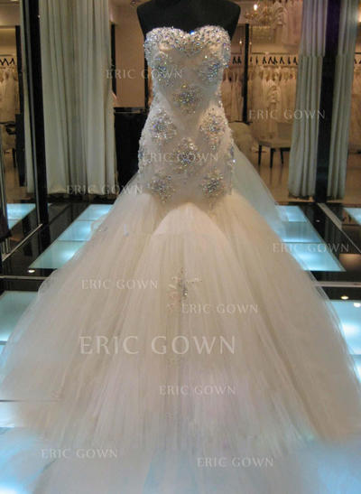 Trumpet/Mermaid Sweetheart Cathedral Train Wedding Dresses With Beading Appliques Lace Sequins (002147798)
