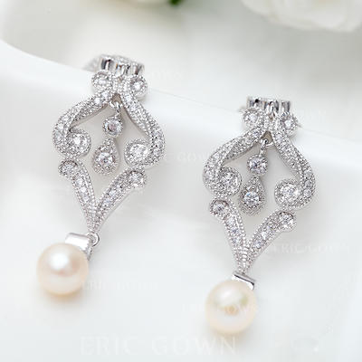 Earrings Copper/Zircon/Platinum Plated Imitation Pearls Pierced Ladies' Wedding & Party Jewelry (011167036)