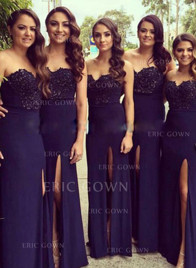 A-Line/Princess Sweetheart Floor-Length Bridesmaid Dresses With Split Front (007144978)