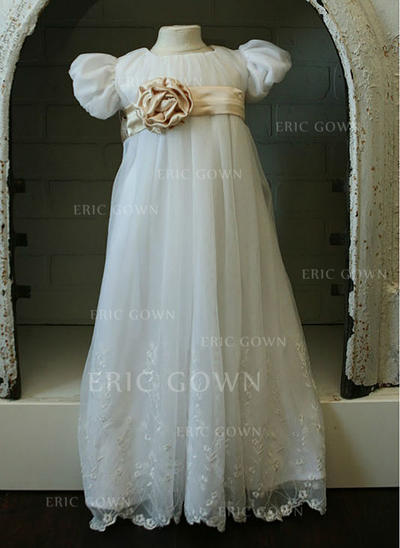A-Line/Princess Scoop Neck Floor-length Tulle Christening Gowns (2001218019)
