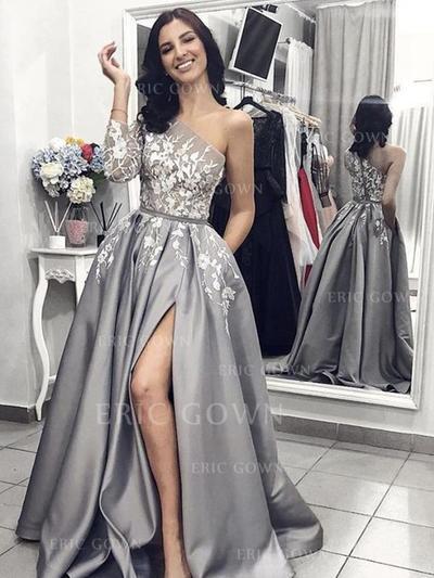 A-Line/Princess One-Shoulder Sweep Train Prom Dresses With Appliques Lace Split Front (018218585)