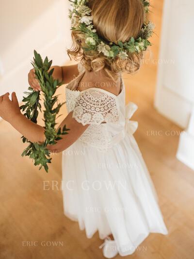 Elegant Square Neckline A-Line/Princess Flower Girl Dresses Ankle-length Chiffon/Lace Short Sleeves (010145249)