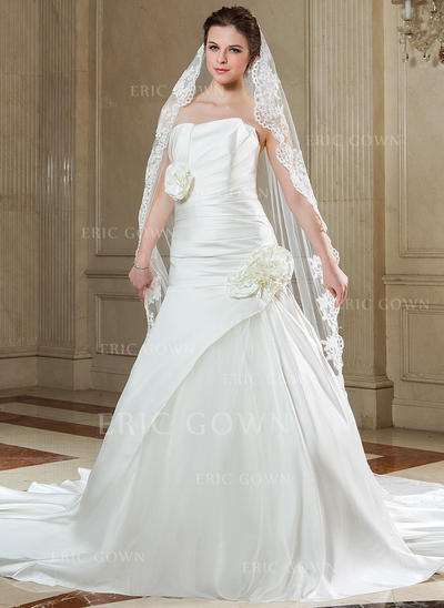Chapel Bridal Veils Tulle One-tier Classic With Lace Applique Edge Wedding Veils (006151609)