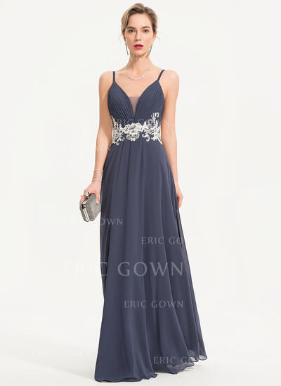 A-Line Sweetheart Floor-Length Chiffon Evening Dress With Lace Beading Sequins (017186114)