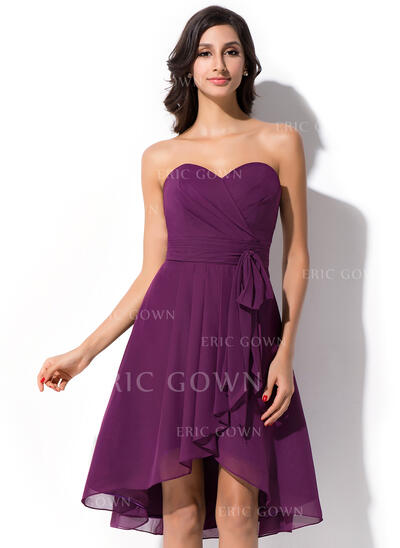 A-Line Sweetheart Asymmetrical Chiffon Bridesmaid Dress (007050075)