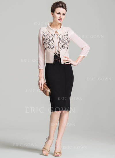 Sheath/Column Scoop Neck Knee-Length Mother of the Bride Dress With Beading (008080186)