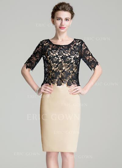 Sheath/Column Satin Sleeveless Square Neckline Knee-Length Zipper Up Mother of the Bride Dresses (008211131)