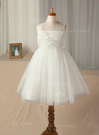 A-Line/Princess Knee-length Flower Girl Dress - Satin/Tulle/Lace Sleeveless Scoop Neck With Beading (010130938)