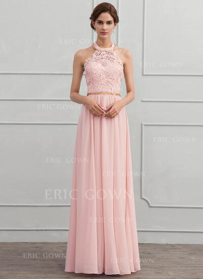 A-Line/Princess Halter Floor-Length Chiffon Evening Dress With Beading (017116324)