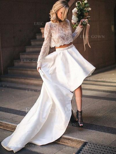 Scoop A-Line/Princess Wedding Dresses Satin Long Sleeves Asymmetrical (002213526)