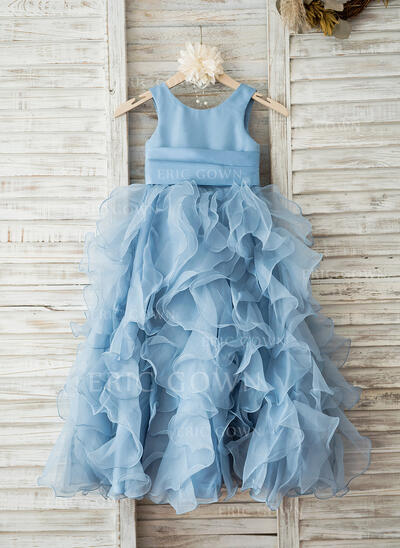Ball Gown/Empire Floor-length Flower Girl Dress - Organza Sleeveless Scoop Neck With Flower(s) (010093386)
