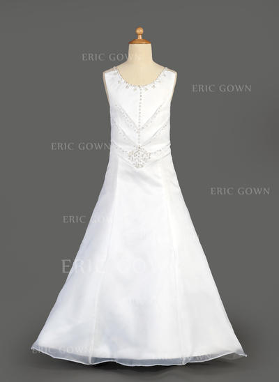 Flattering Scoop Neck A-Line/Princess Flower Girl Dresses Floor-length Organza/Satin Sleeveless (010014647)
