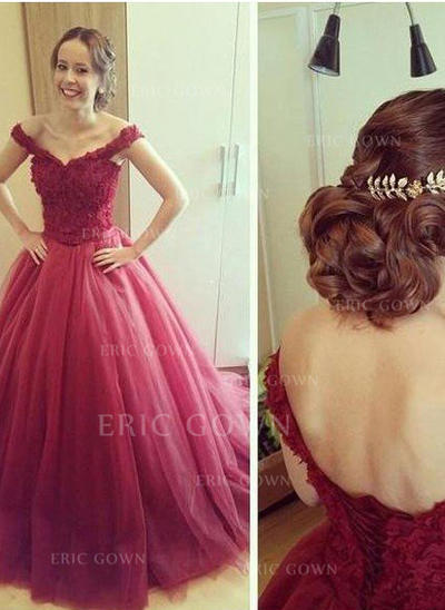 Ball-Gown Off-the-Shoulder Floor-Length Evening Dresses With Appliques Lace (017218600)
