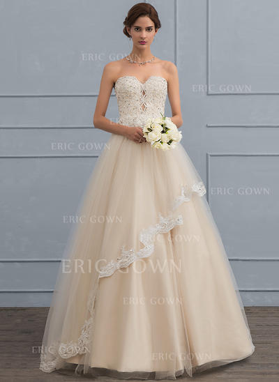 Ball-Gown Sweetheart Floor-Length Tulle Wedding Dress With Beading Sequins (002119796)