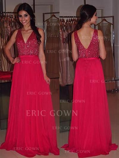 A-Line/Princess V-neck Sweep Train Chiffon Evening Dresses With Sash Beading (017217014)