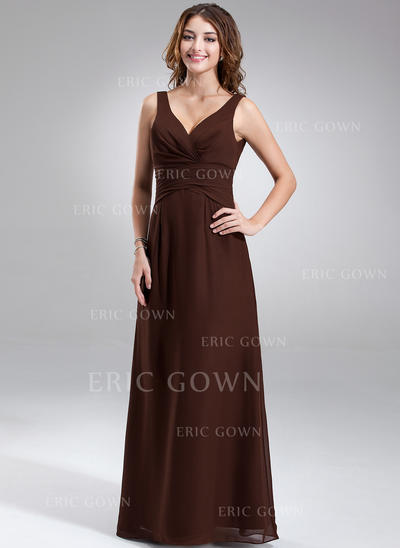 A-Line/Princess Chiffon Bridesmaid Dresses Ruffle V-neck Sleeveless Floor-Length (007001889)