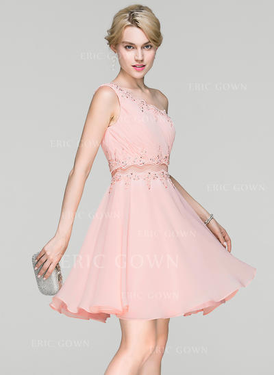 A-Line/Princess One-Shoulder Short/Mini Chiffon Cocktail Dress With Ruffle Lace Beading Sequins (016094381)