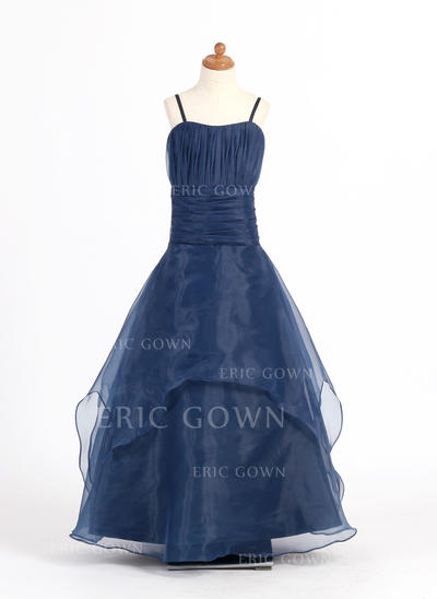 A-Line/Princess Sweetheart Floor-length With Ruffles Organza Flower Girl Dresses (010007669)