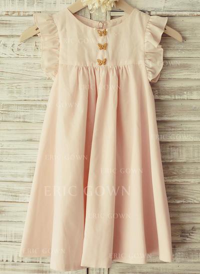 Fashion Scoop Neck Empire Flower Girl Dresses Knee-length Chiffon Sleeveless (010196735)